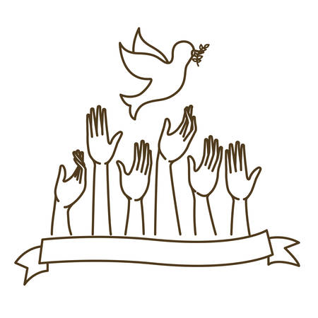 hands receiving pigeon isolated icon vector illustration design