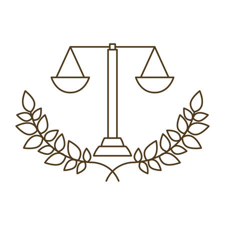 balance of justice with tree branch with leaves isolated icon vector illustration design