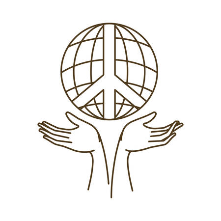 globe terrestre avec symbole de paix et d'amour et mains recevant une icône isolée