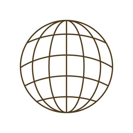 Globe terrestre avec des parallèles et des méridiens icône isolé illustration vectorielle conception Vecteurs