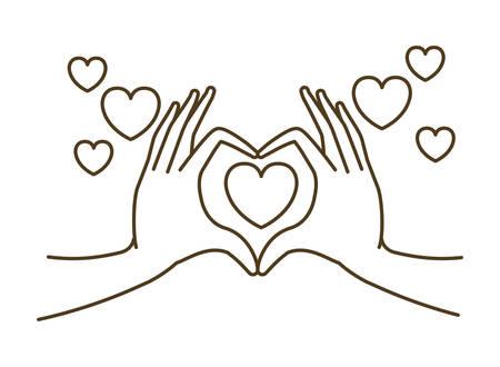 hands forming a heart symbol avatar character vector illustration design