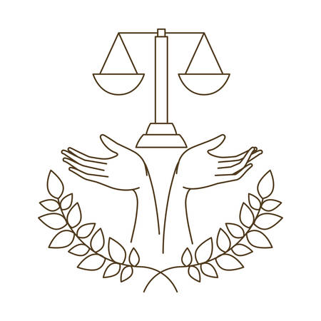 balance of justice with tree branch with leaves isolated icon vector illustration design Illustration