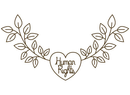 human rights in heart with leaves isolated icon vector illustration design