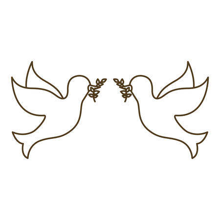 pigeons with branch in its beak vector illustration design 向量圖像