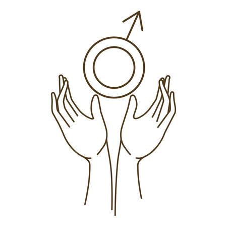 men symbol with hands avatar character vector illustration design 일러스트