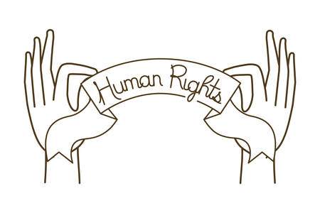 Open hands with human rights symbol vector illustration desing