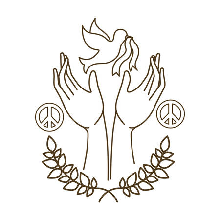dove of peace with open hands avatar character vector illustration design