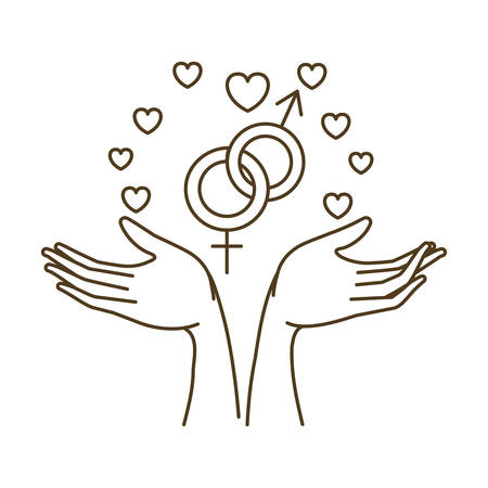 women and men symbol with hands avatar character vector illustration design