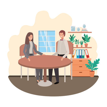 business people sitting in the living room vector illustration design