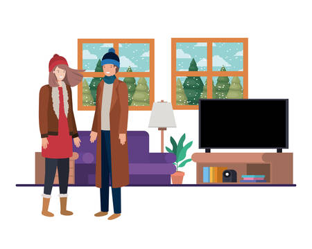 couple living room with view the landscape by window vector illustration design