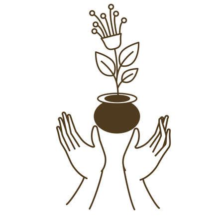 open hands with flower avatar character vector illustration design Illustration
