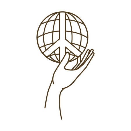 earth globe with peace and love symbol and hand vector illustration design