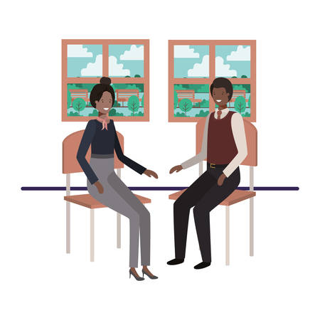 business people sitting with view landscape by window vector illustration design