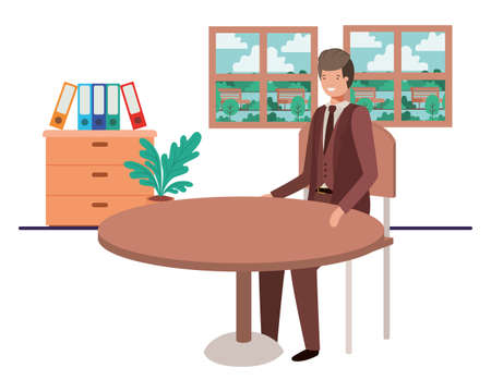 businessman sitting with view the landscape by window vector illustration design