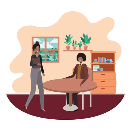 couple business in the room with view the landscape vector illustration design