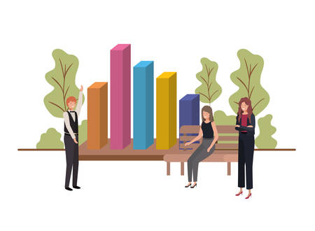 group of people business with statistics bars vector illustration desing Vettoriali