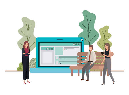 group of people business with laptop computer vector illustration desing