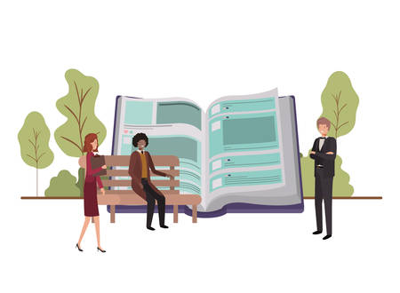 group of people business with open book vector illustration desing