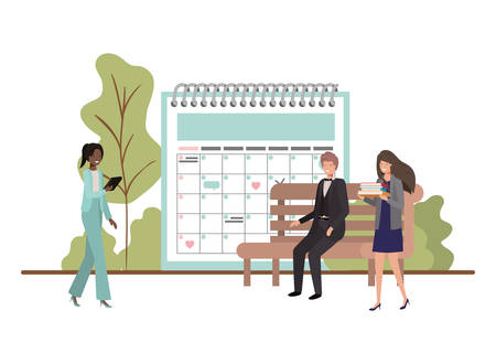 group of people business with calendar reminder vector illustration desing