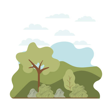 trees plant with landscape isolated icon vector illustration desing