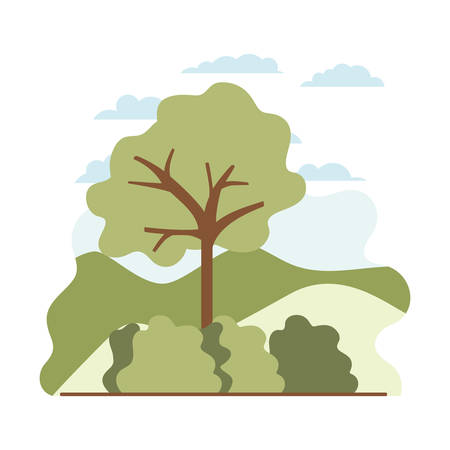 tree plant with landscape isolated icon vector illustration desing Vektoros illusztráció