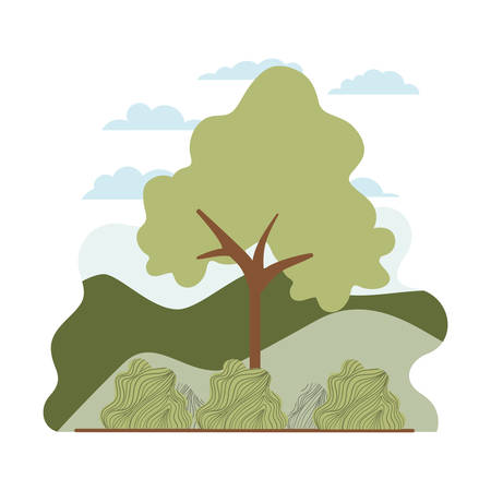 tree plant with landscape isolated icon vector illustration desing Illustration