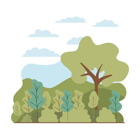 trees plant with landscape isolated icon vector illustration desing Vektoros illusztráció