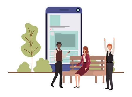 group of people business with smartphone vector illustration desing