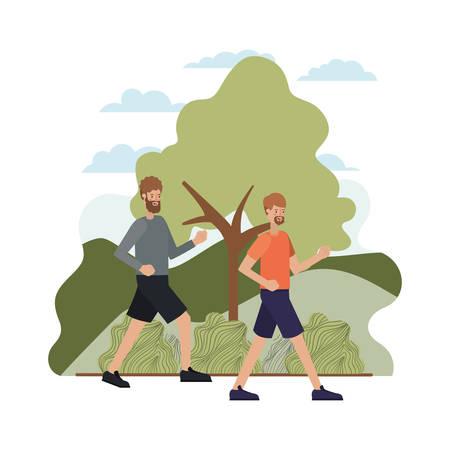 jeunes hommes avec paysage avatar caractère vector illustration desing