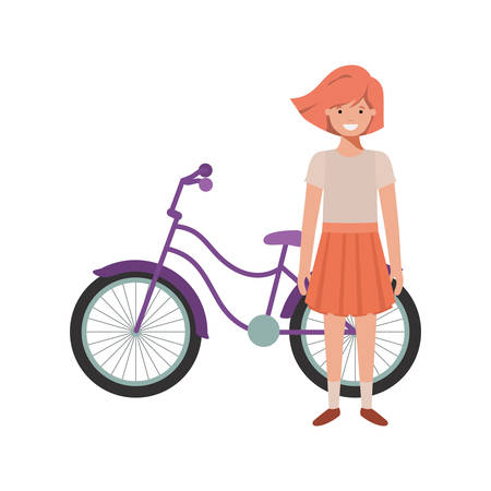 girl with bicycle avatar character vector illustration desing