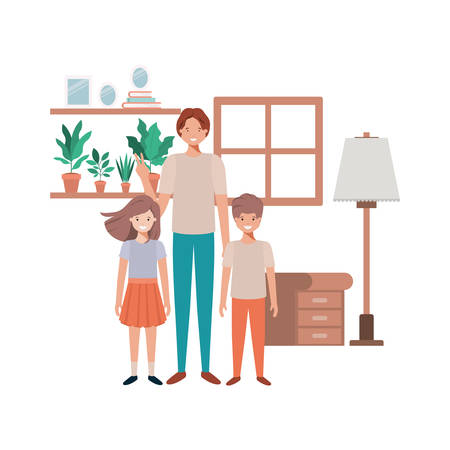 father and children in livingroom avatar character vector illustration design