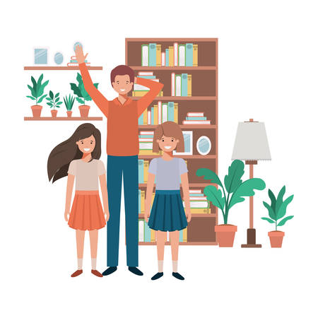 father and daughters in livingroom avatar character vector illustration desing
