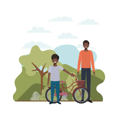 father and son with bicycle landscape vector illustration desing