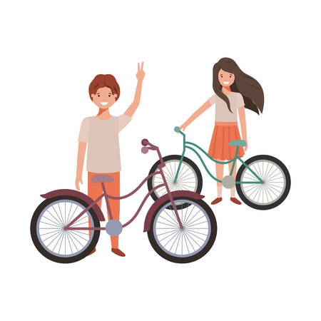 children with bicycle avatar character vector illustration desing