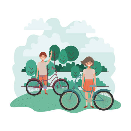 children with bicycle in landscape vector illustration desing Vectores