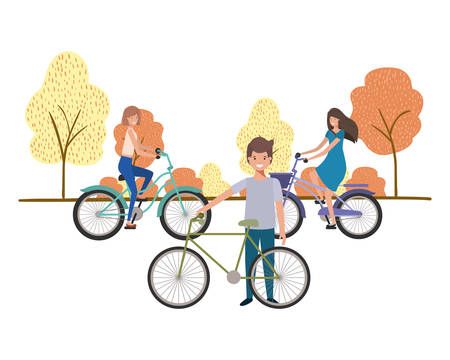group of people with bicycle in landscape vector illustration desing Illustration