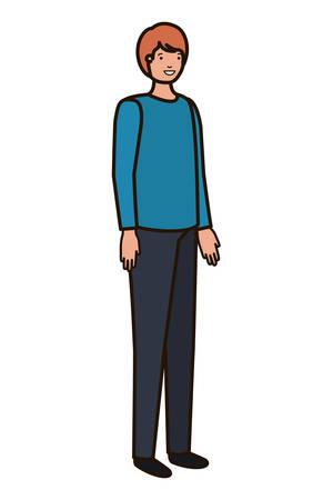 young man avatar character vector illustration desing
