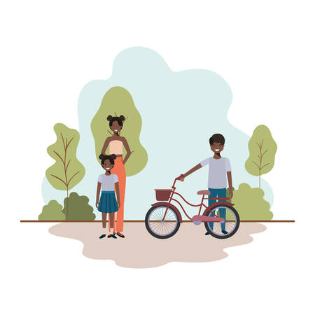 mother and children with bicycle in landscape vector illustration desing