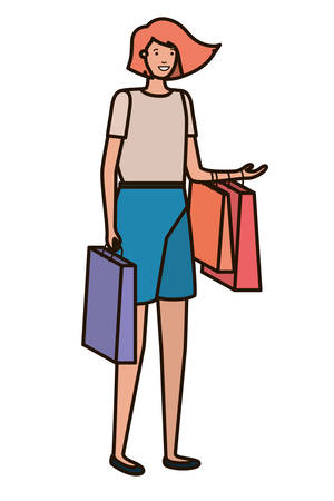 young woman of shopping avatar character vector illustration design