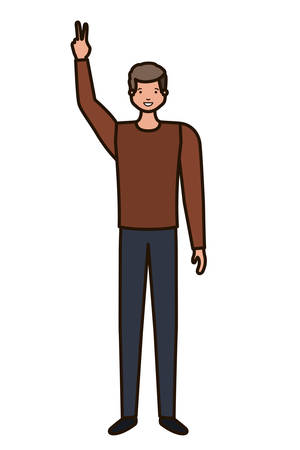 young man avatar character vector illustration desing