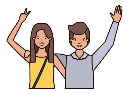 young couple with hands up avatar character vector illustration desing 矢量图像