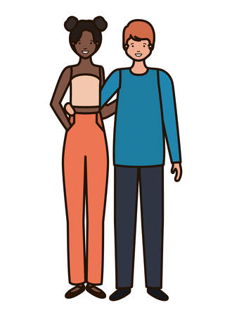 young couple avatar character vector illustration desing