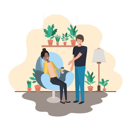 couple in living room drinking coffee vector illustration design