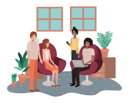 Gruppe von Menschen, die Technologiegeräte im Wohnzimmervektorillustrationsdesign verwenden