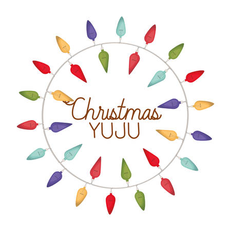 christmas yuju with christmas lights isolated icon vector illustration design  イラスト・ベクター素材