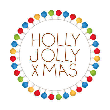 holly jolly merry Christmas with Christmas lights vector illustration design