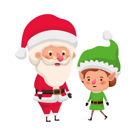 santa claus with elf moving avatar character vector illustration design