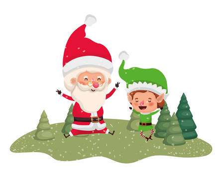 santa claus with elf moving with christmas trees vector illustration design Illustration