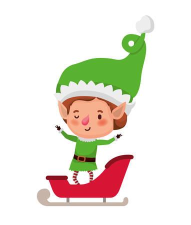 elf with sleigh avatar chatacter vector illustration design Illustration