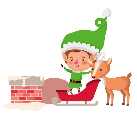 elf with sleigh avatar chatacter vector illustration design Vettoriali